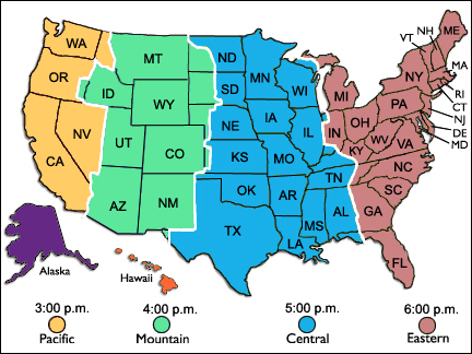Th Lunar And Planetary Science Conference - Us map with time zones hightlighted